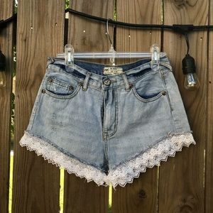 Free People cut-off laced denim shorts